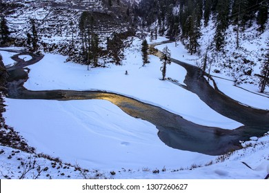 the frozen parvati river, kasol village, himachal pradesh, India