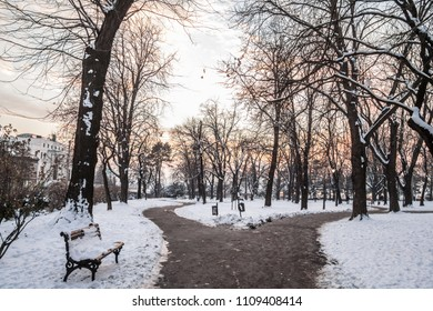 Frozen path in the park of Kalemegdan fortress, in Belgrade, Serbia, during a harsh winter afternoon at dusk. Kalemegdan fortress is one of the main landmarks of Belgrade