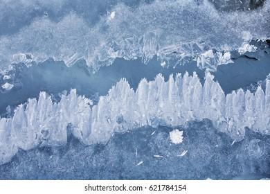 Frozen pattern of Baikal lake ice. Top view. Winter texture