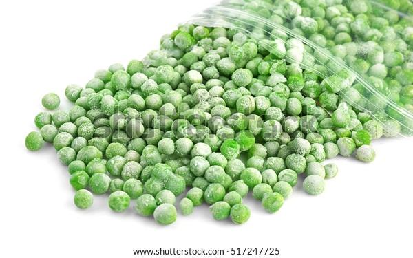 Frozen peas isolated on white