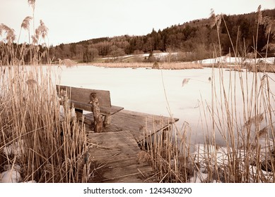 frozen pond in the forest, wooden bench at boardwalk, lonely scenery sepia toned