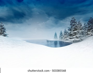 frozen pound with trees and cloudy sky, winter season lake scenery 3D illustration