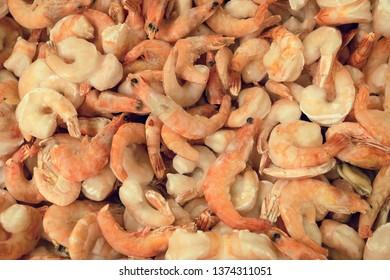 Frozen raw natural shrimp in market