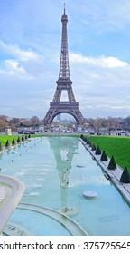 Frozen reflections in Paris. Eiffel Tower reflected in Trocadero Fountains. Paris Best Destinations in Europe
