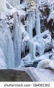 Frozen Rissbach Creek in winter