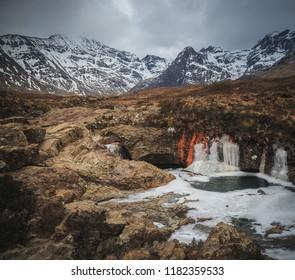 Frozen River Brittle in Glen Brittle valley, Fairy Polls tourist attraction. Isle of Skye, scottish Highlands.