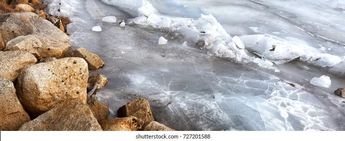 Frozen river close up detail.. Banner format