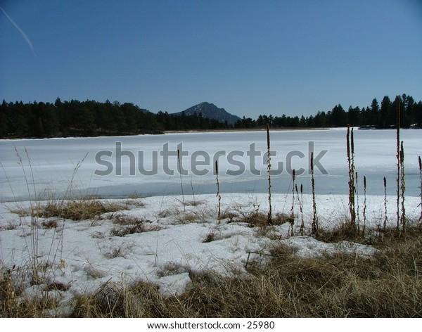 Frozen river in Colorado