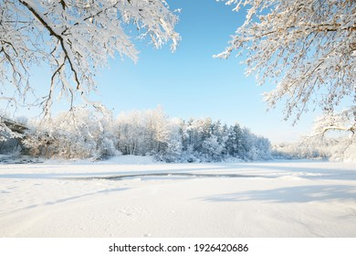 Frozen river in a frame of snow-covered trees, hoarfrost on branches. Clear blue sky. Idyllic landscape. Winter wonderland. Nature, seasons, climate change, ecology, ecotourism, Christmas vacations