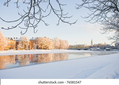 Frozen river in the town of Karlstad in Sweden durint the winter