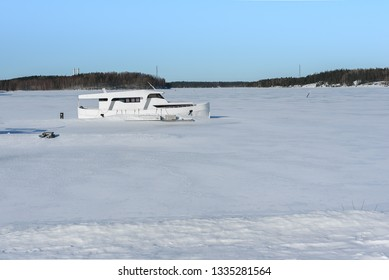 Frozen Saimaa Lake and Ship in Ice, Lappeenranta, Finland