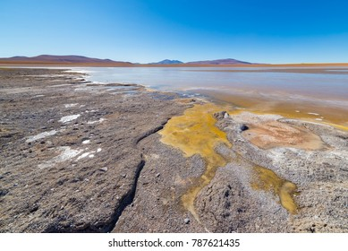 Frozen salt lake on the Andes, road trip to the famous Uyuni Salt Flat, travel destination in Bolivia.