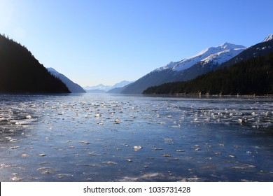 Frozen salt water in Long Bay near Skagway, Alaska