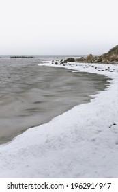 frozen sea in winter in denmark