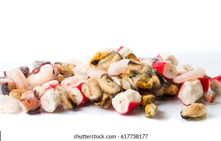 Frozen seafood mix of shrimps, surimi mussels and octopus