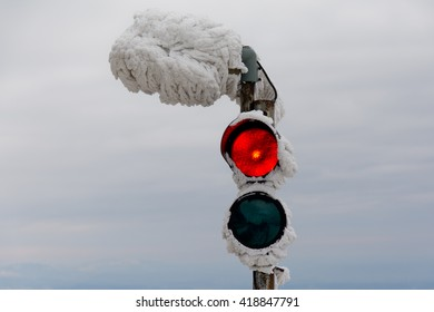 Frozen semaphore on the Jested hill near Liberec town, Czech republic