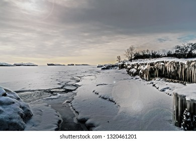 The frozen shores of Lake Michigan a day after the polar freeze weather occurrence in the Midwest, Chicago, Illinois, United States.