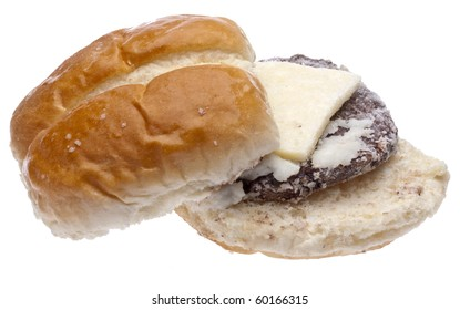 Frozen Slider Cheeseburger Isolated on White with a Clipping Path.