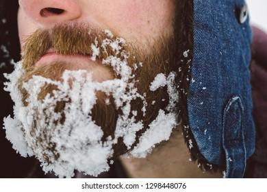 Frozen snow on the beard.
