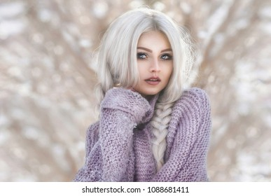 Frozen snow-white elf in a fairy-tale snow-covered forest .Portrait on bokeh background