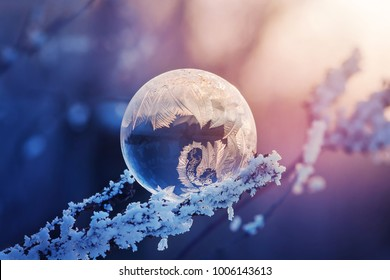 Frozen soap bubble on a cold winter sunset