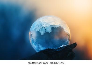 Frozen soap bubble on a frosty morning