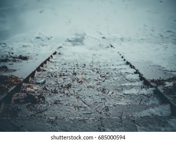 Frozen Stairs near river