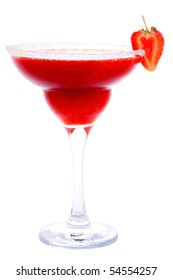 Frozen strawberry daiquiri or margarita cocktail isolated on white