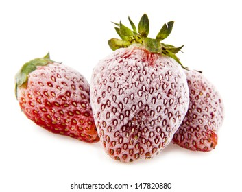 frozen strawberry on a white background