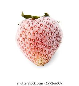 frozen strawberry on a white background