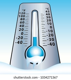 Frozen thermometer. Cold winter illustration.