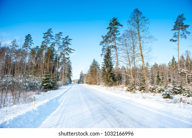Frozen trees and snowy land road at winter, deep blue sky.