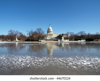 Frozen United States Capitol building.  Winter in Washington DC.