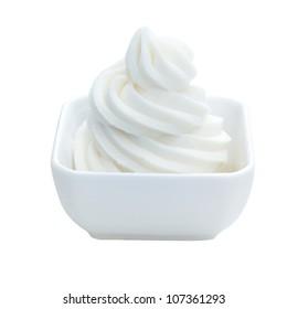 Frozen Vanilla yogurt Dessert with clipping path
