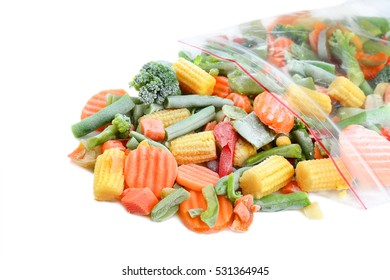 Frozen vegetable mix on white background