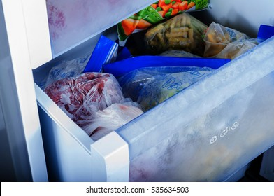 Frozen vegetables in freezer