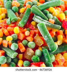 Frozen vegetables with ice
