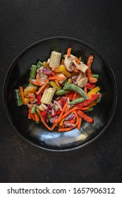 frozen vegetables mix salad onion, corn, pepper, paprika, mushrooms, asparagus beans, carrot and others, ketogenic diet menu concept. food background. top view. copy space
