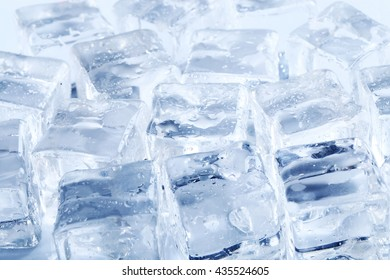 Frozen water. Ice cubes on the table