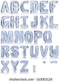 frozen water in the shape of the alphabet