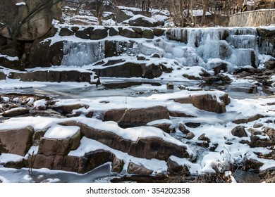 Frozen waterfall in Bukhansan National Park, Seoul, South Korea