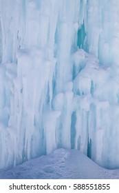 frozen waterfall close-up