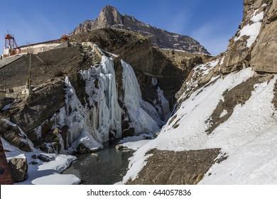 frozen waterfall or icicle near kaza, himachal pradesh, india