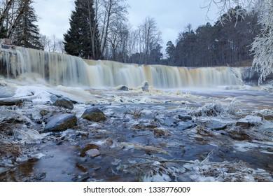 Frozen waterfall known as Keila Juga in Estonia