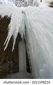 Frozen waterfall looking up