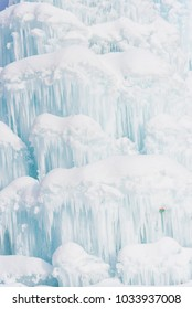 Frozen Waterfall in the Mountains