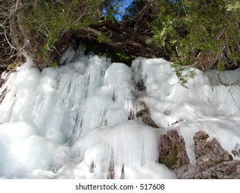 Frozen Waterfall over a Cliff