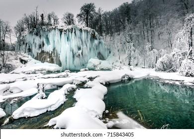 Frozen waterfall in Plitvice Lakes, Croatia