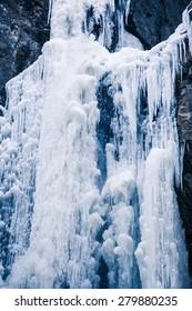 Frozen waterfall in Prosiecka valley at Slovakia