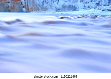 Frozen waterfall. Winter. Landscape.